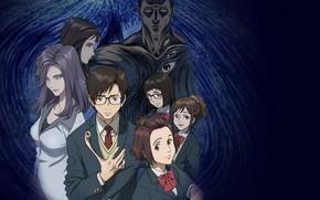 Picture art, black background, characters, Parasite: the doctrine of life, Kiseijuu: Sei no Kakuritsu