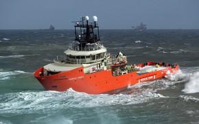 Picture sea, storm, lifeguard