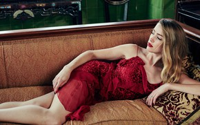 Picture look, girl, pose, sofa, red, dress, beauty, Amber Heard