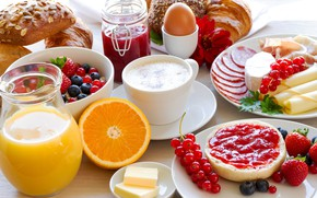 Picture berries, egg, coffee, orange, Breakfast, cheese, strawberry, juice, sausage, cakes, jam, buns
