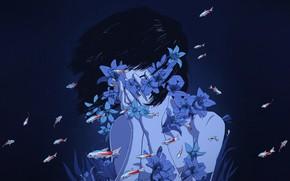 Picture Flowers, Girl, Minimalism, Blue, Fish, Girl, Fish, Fish, Background, Art, Art, Blue, Flowers, Background, Illustration, …