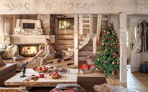 Picture girl, tree, Christmas, gifts, New year, fireplace