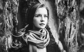 Picture portrait, girl, monochrome, Sergey Piltnik