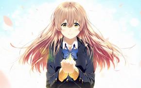 Picture girl, Anime, bow, gesture, 2016, You no Katachi, A Silent Voice, Form Voice