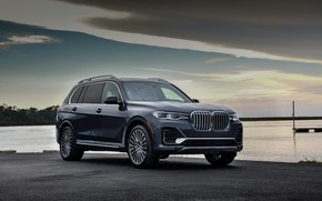 Picture shore, BMW, 2018, crossover, SUV, 2019, BMW X7, at the pier, X7, G07