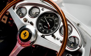 Picture Speedometer, Ferrari, Classic, The wheel, 1957, Classic car, Sports car, Ferrari 625 TRC