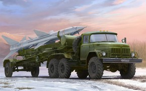 Picture art, PR-11 SA-2, ZIL-131В, tow missiles