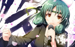 Picture girl, microphone, singer