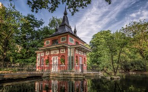 Picture greens, the sky, the sun, clouds, trees, pond, Park, house, Spain, Madrid, Retiro Park