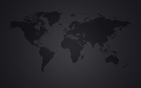 Picture continents, black background, world map, continents