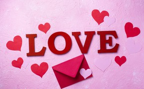 Picture hearts, Valentine's day, the envelope, congratulations