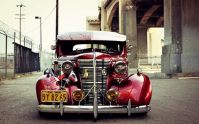 Picture Chevrolet, Red, Old, Custom, Master Deluxe