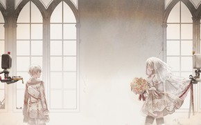 Picture robots, art, two, wedding, Nier Automata