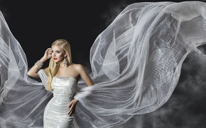 Picture girl, style, makeup, dress, blonde, decoration