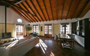 Picture retro, interior, fireplace, living room, dining room, mid-century modern, Chafariz