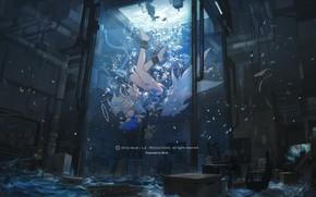 Picture water, girl, aquarium, anime, art, mivit