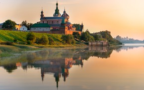 Picture summer, the sky, nature, reflection, river, Church, temple, Gordeev Edward
