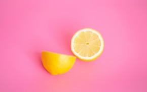 Picture lemon, minimalism, fruit, pink background, halves, lemons, cut