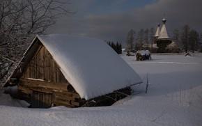 Picture winter, snow, landscape, nature, house, Church
