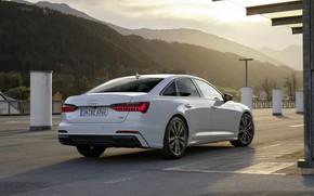 Picture white, Audi, Parking, sedan, hybrid, Audi A6, four-door, 2020, A6, A6 Sedan, 55 TFSI and …