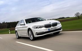 Picture field, white, the sky, BMW, sedan, hybrid, 5, four-door, 2017, 5-series, G30, 530e iPerformance