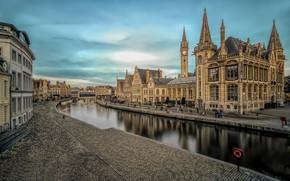 Picture channel, Belgium, architecture, Ghent