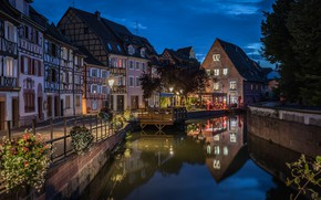 Picture lights, France, the evening, channel, Colmar