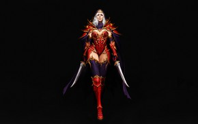 Picture Girl, Fantasy, Art, Style, Background, Illustration, Armor, Figure, Character, Daggers, Maxi Hoy, Red Assassin