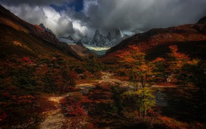 Picture autumn, the sky, bright colors, clouds, trees, foliage, tops, pond, shrubs, Andes, bright, Patagonia, autumn …