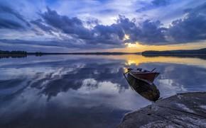 Wallpaper sunset, lake, boat, Finland