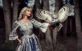 Picture look, girl, pose, owl, bird, dress, blonde, beautiful, Ruth Chornolutskyy