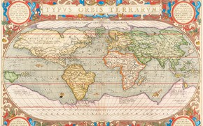 Picture World Map, World Map, old maps, Antwerp, 1603, Abraham Ortelius, Abraham Ortelli, Antwerp 1603, Hand-coloured …