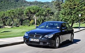 Picture road, speed, BMW, Sedan, 545i