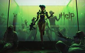 Picture cyberpank, cyberpunk 2077, cyber girl, 2020, bionic, cdprojekt red