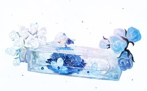 Picture flowers, sleeping, girl, bottle