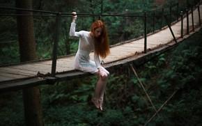 Picture girl, bridge, nature, pose, height, dress, Evgeny Reshetov