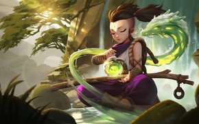 Picture mountains, magic, dragon, waterfall, sphere, Chinese Dragon, Legends of Runeterra