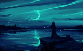 Picture moon, fantasy, magic, landscape, night, figure, lake, man, painting, digital art, artwork, environment, fantasy art, …
