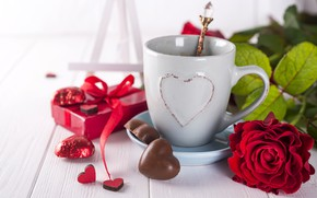 Picture flowers, gift, roses, bouquet, hearts, red, red, love, flowers, romantic, hearts, chocolate, coffee cup, valentine's …