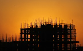 Picture sunset, the building, frame