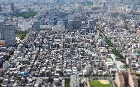Picture Japan, Tokyo, Japan, the view from the top, tilt-shift, panorama of the city