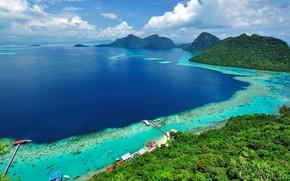 Picture water, shore, island, Malaysia, Borneo