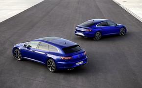 Picture asphalt, Volkswagen, blue, universal, Shooting Brake, liftback, 2020, Arteon, Shooting Brake R, Arteon R