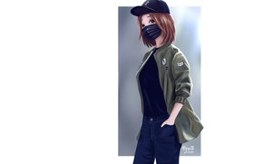 Picture girl, jeans, jacket, white background, baseball cap, medical face mask, by dante rh