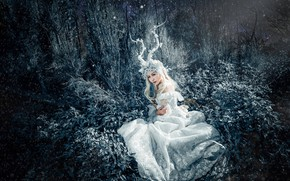 Picture grass, look, leaves, girl, light, night, branches, nature, face, pose, style, tree, thickets, hands, fairy, …
