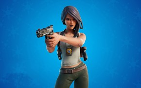 Picture girl, snowflakes, gun, background, Fortnite