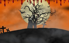 Wallpaper death, background, blood, cross, Halloween