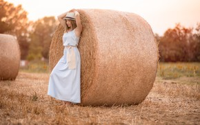 Picture summer, girl, hay, Natasha