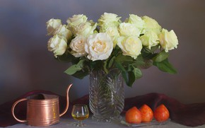 Picture flowers, style, glass, bouquet, vase, lake, still life, plum, white roses
