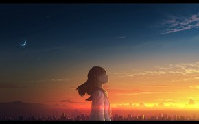 Picture girl, sunset, the city, Crescent